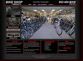 Web Site Design Bike Shop Sebring